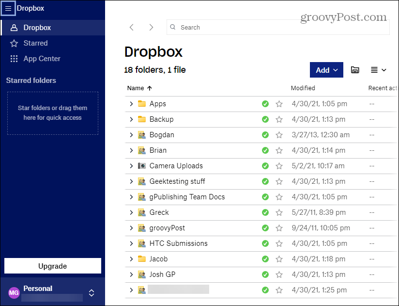 application dropbox synchronisation des dossiers