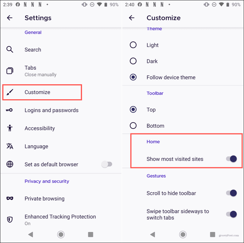 Firefox Customize Home sur Android