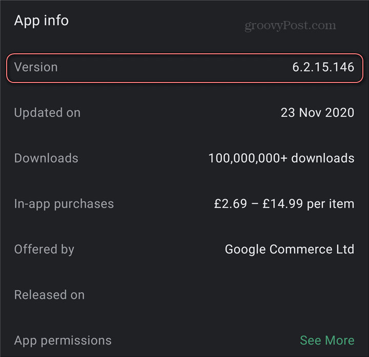 Android application version play store numéro